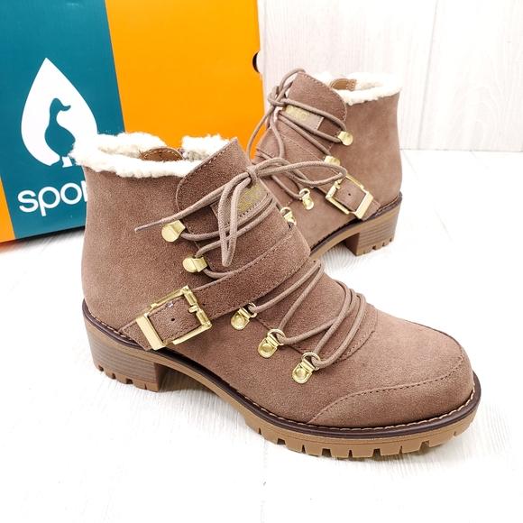 Katie Waterproof Suede Laceup Boots